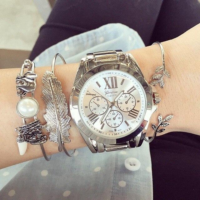 206 Одежда высшего качества римскими цифрами негабаритных браслет часы, красивый вид классические металлические часы Японии Movet Для женщин Женеве часы кварцевые