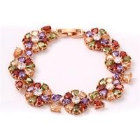 FYM Fashion Rose Gold Color Flower Shape Women Bracelet Colorful AAA Zircon Crystal Bracelet Femme Bracelets
