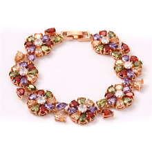 FYM fashion Rose Gold Color flower shape women Bracelet Colorful AAA Zircon Crystal Bracelet Femme Bracelets for Women Party fym high quality luxury colorful aaa zircon crystal bracelet femme bracelet