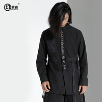 Original designer brand men on the personality of Men fashion in the long sleeved shirt stitching Ribbon Shirt