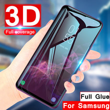 Protective glass on the for Samsung Galaxy S8 S9 Plus screen protector full adhesive glue galax note s 8 9 3d curved glas 9s 8s(China)