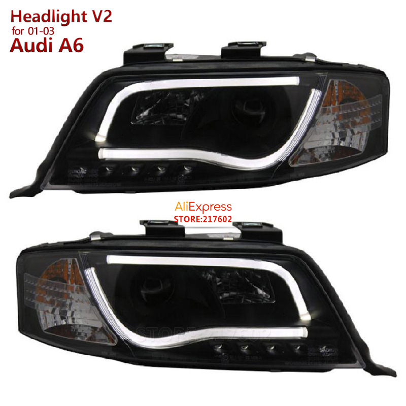 SONAR Brand High Quality tuning lamps for Audi A6 Projector Headlights fit 2001-2003 year models- with LED BAR light V2 type