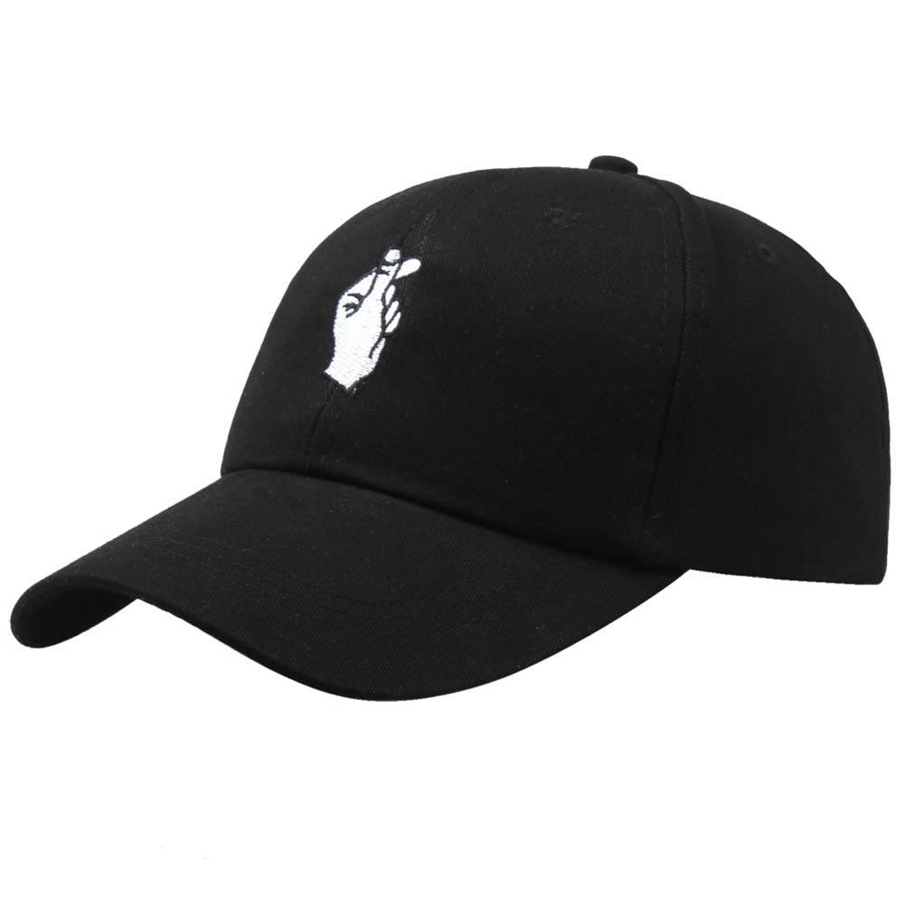 Fashion Summer Korean   Baseball     Cap   Cotton Adjustable Sun Hat Men And Women Hip Hop   Caps   Finger Gesture Snapback Hats IK88