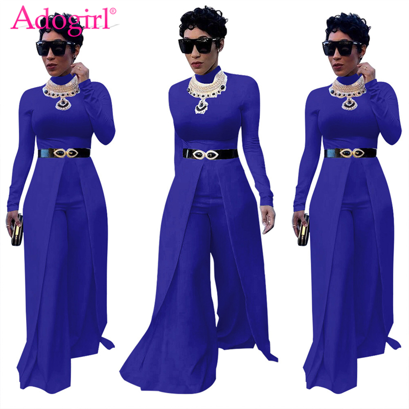 Adogirl 2018 New Solid Women Loose Jumpsuits O Neck Long Sleeve Wide