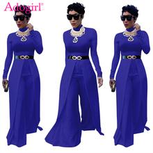 Adogirl 2018 New Solid Women Loose Jumpsuits O Neck Long Sleeve Wide Leg Pants Rompers Elegant