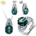 HUTANG Natural Blue Fluorite & Tourmaline & Apatite Solid 925 Sterling Silver Jewelry Sets Ring & Pendant & Earrings Womens