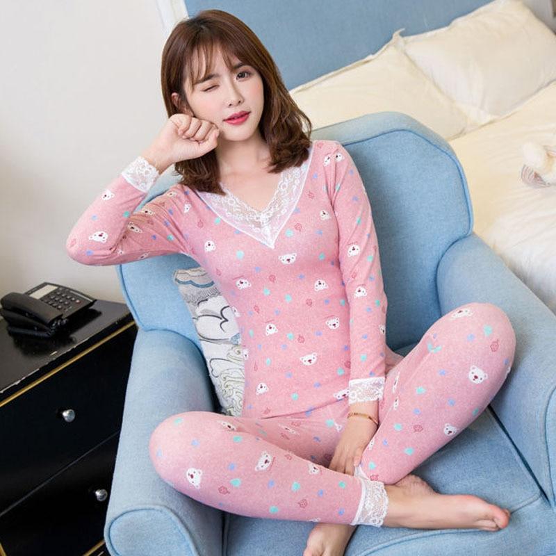 Cartoon Long Johns Girls Women Homewear Lace Embroidery V-neck Print Long Sleeve Elastic Waist Spring Autumn Pyjamas S91393
