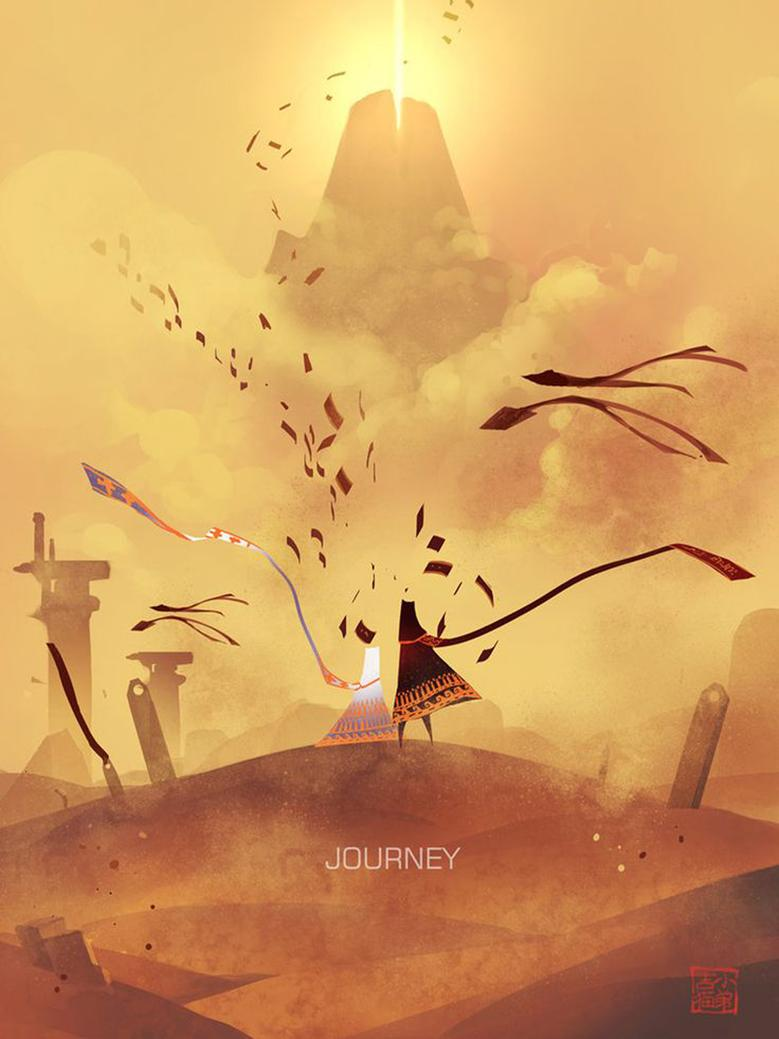 Game with watercolor - Journey Game Watercolor Inkjet Fabric Poster 32 X24 17 X13