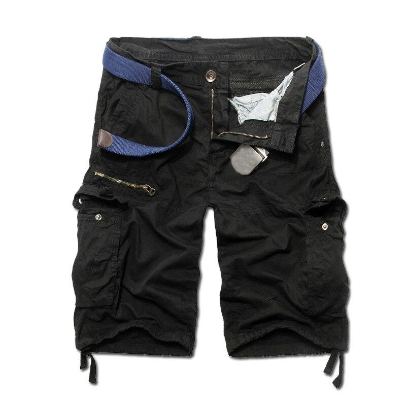 205 Лето Новое поступление мужские Брюки-карго Дизайнерские однотонные брюки-карго bermuda masculina Размер 29-38 AK06 - Цвет: black
