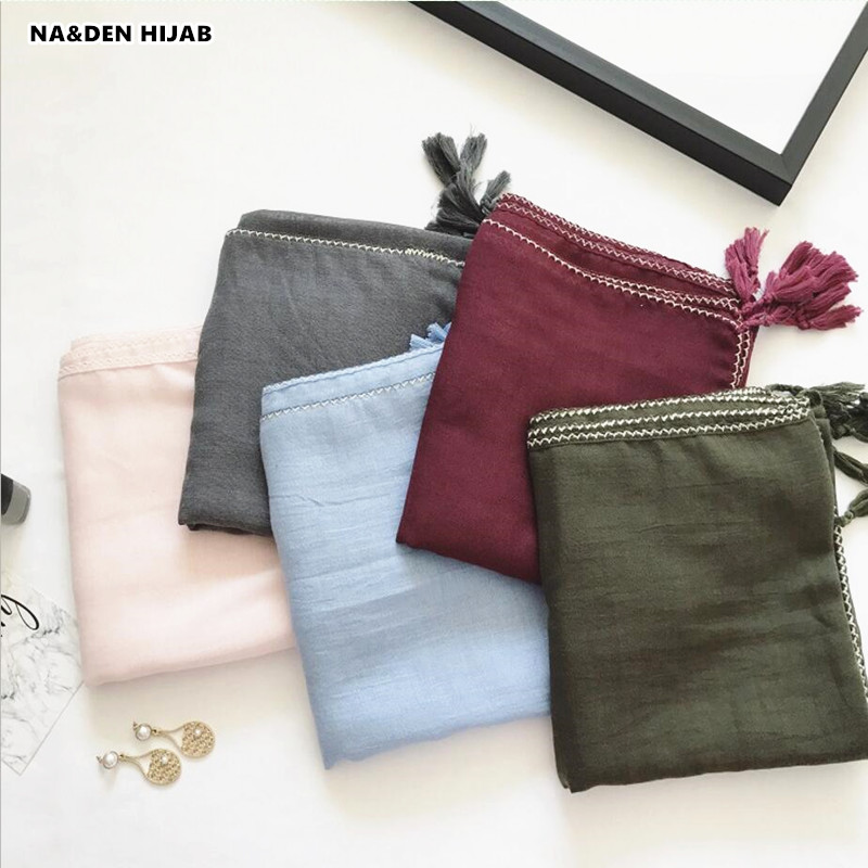 2018 plain scarf weave edges shawl tassel solid islamic hijab scarf women pashmina bandana wrap solid scarves foulard 13 colors