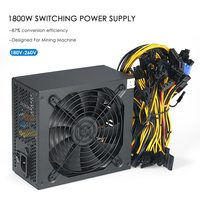1800W Switching Server Power Supply High Efficiency Mining Machine Power Source for Ethereum S9 S7 L3 Rig Mining Bitcoin180 260V