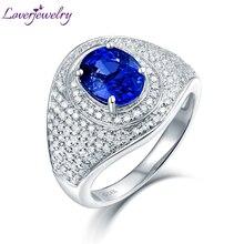 2020 Sapphire Rings Luxury Design Real 14Kt White Gold Diamonds Blue Sapphire Anniversary Ring For Women Stylish Fine Jewelry
