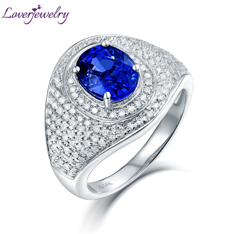 Luxury Design Real 14K White Gold Diamond Blue Sapphire Anniversary Ring for Women Stylish Fine Jewelry Gift цена 2017