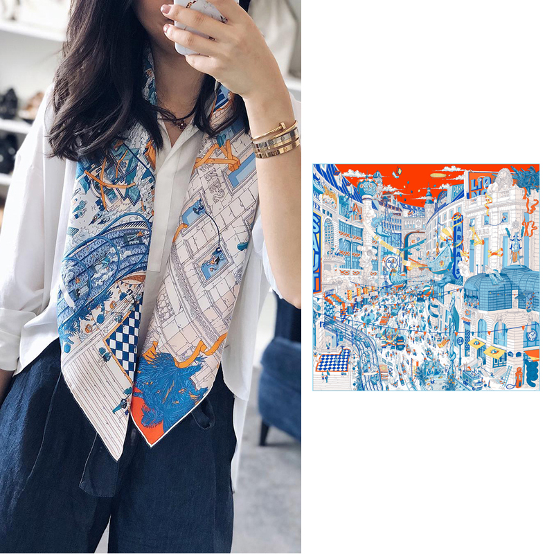 Fashion Prints Women 100% Silk Head Scarves Hijab Large Square Silk Scarf Wraps 35X35 Inches
