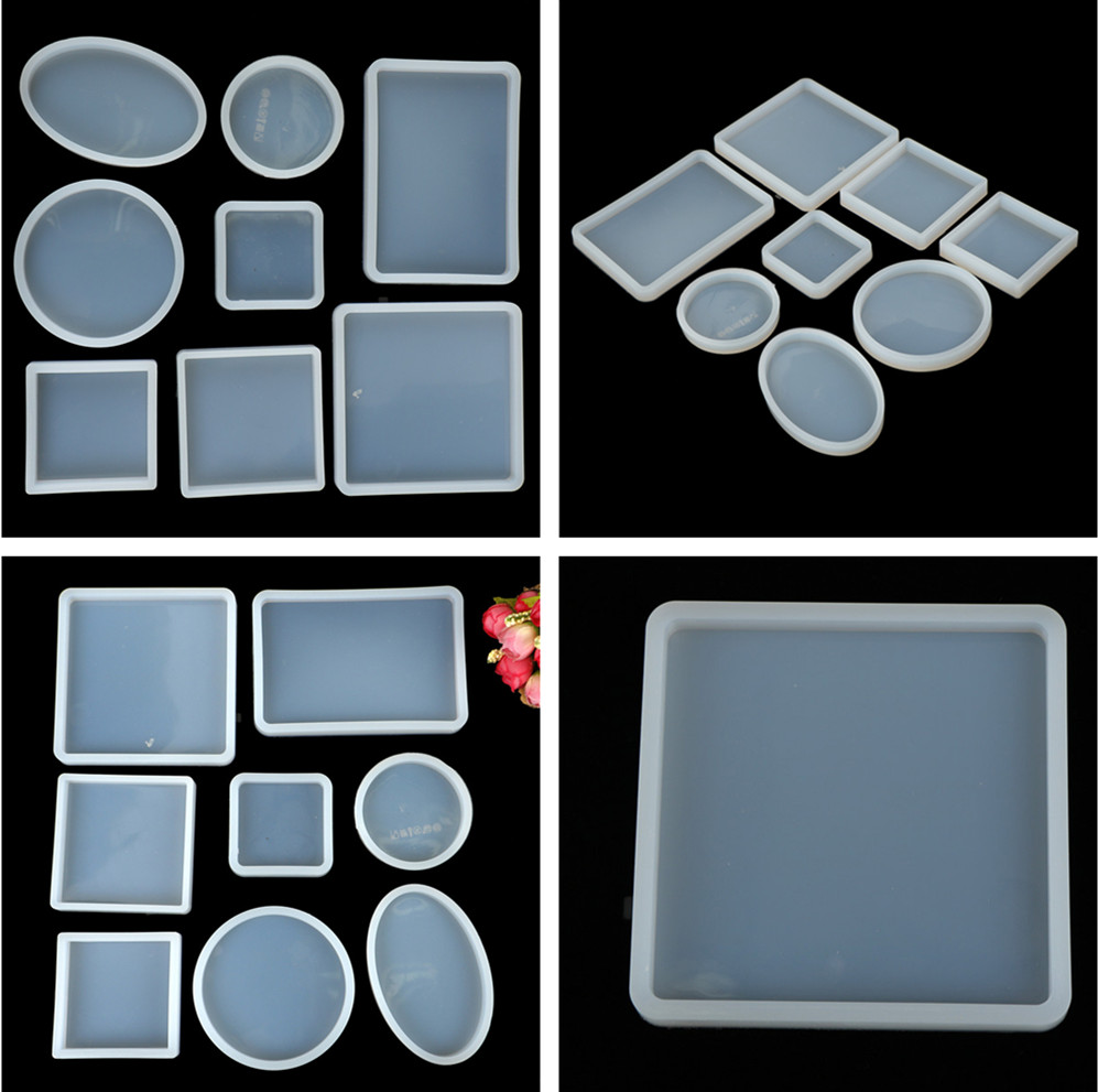 1 PC DIY Craft Square Round Resin Silicone Bake Moulds Decorative Crystal Transparent Epoxy Jewelry Making Mold