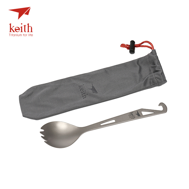 Keith Titanium Spork With Fork Tip Bottle Opener Camping Travel Tablewares Picnic Convenient Hanger On Top Fork Spoon 15g Ti5311