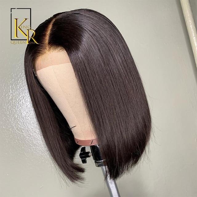 Peluca de Bob corto pelo Remy brasileño pelucas de pelo humano frontal de encaje para mujeres negras Peluca de encaje de Color Natural rey la reina de Rosa