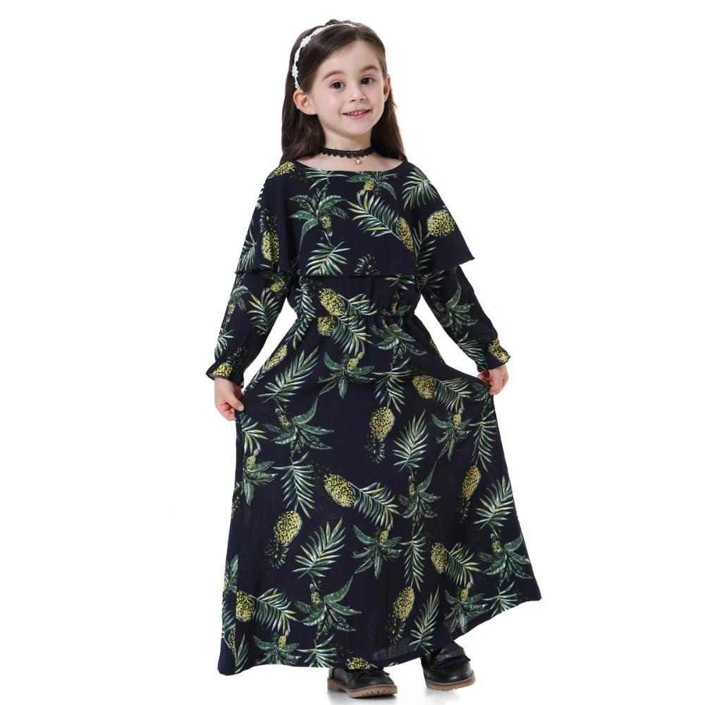 Muslim Girls Abaya Kids Long Maxi Dress Prayer Robe Islamic for Kid Children