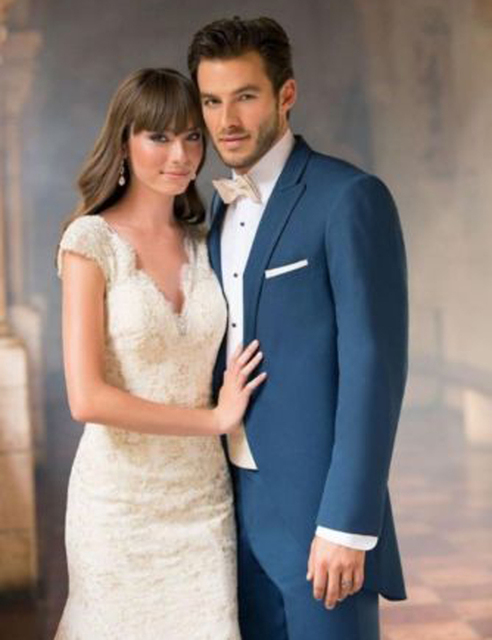 2016 por encargo moda azul trajes de hombre ocasión Formal trajes de boda trajes trajes de novia esmoquin frac