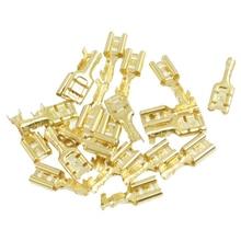 20 Pcs Gold Tone Brass Crimp Terminal 6.7mm Female Spade Connectors