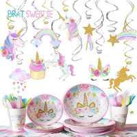 Вечерние спиральные висячие украшения с единорогом, украшения с единорогом для девочек, товары для вечеринки на первый день рождения