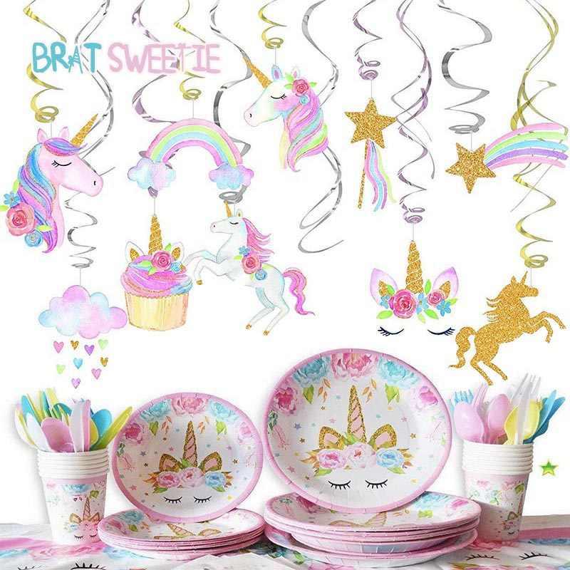 Unicorn Gantung Pesta Spiral Swirl Dekorasi Unicornio Ornamen Anak Perempuan Baby Shower 1st Perlengkapan Pesta Ulang Tahun