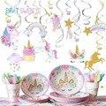 Висячие спиральные украшения в виде единорога для вечеринки, украшения в виде единорога для детей и девочек, товары для вечеринки в честь пе...