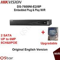 Hikvision NVR DS-7608NI-E2/8 P 8CH dla 6MP Nagrywania 8 POE Kamera IP Security Network Video Recorder 2 SATA Wbudowany w HDD 1/2/3/4 T