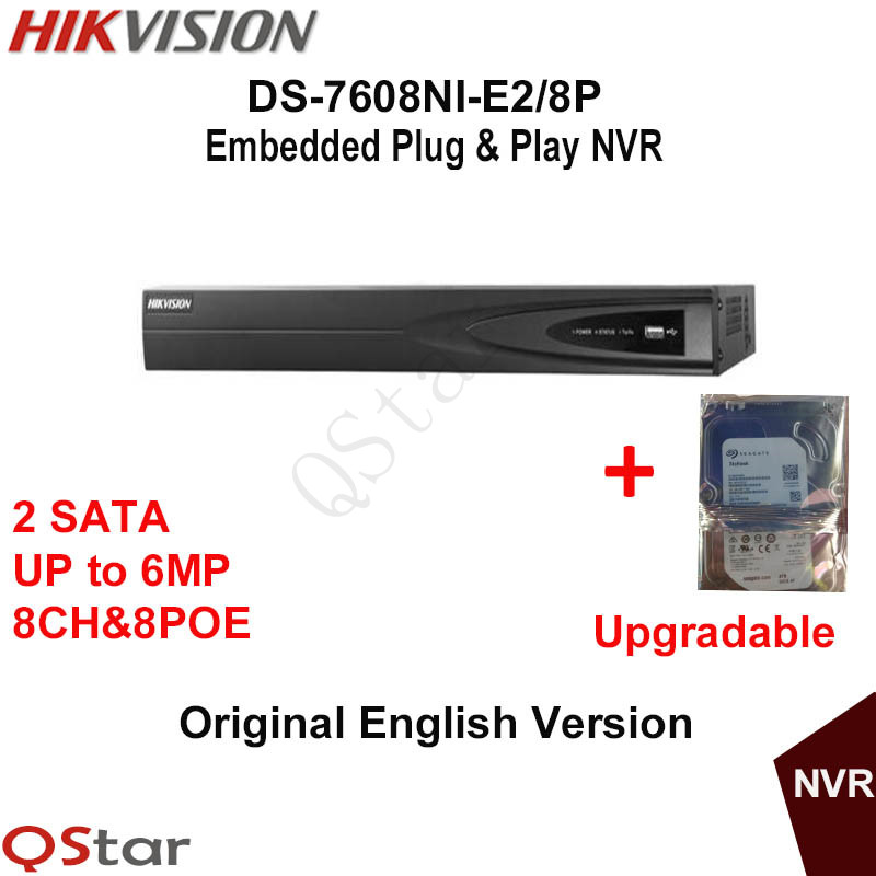 Hikvision NVR DS-7608NI-E2/8P 8CH for IP Camera 6MP Recording 8 POE 2SATA Security Network Video Recorder Build-in HDD 1/2/3/4T