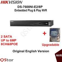 Hikvision NVR DS-7608NI-E2/8 P 8-КАНАЛЬНЫЙ для Записи 8 POE IP Камера 6MP 2 SATA Безопасности Сетевой Видеорегистратор встроенный HDD 1/2/3/4 Т