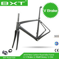 Chinese cheap racing road frame2018 BXT carbon road cycling frame Route 700c bike Carbon bike frame V Brake