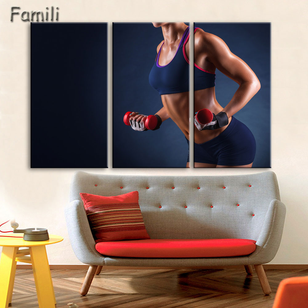 3pcs Wall Art Poster Bodybuilding Exercise Fitness Sports Painting Canvas Printing Unframed Modular Pictures,living room decorat