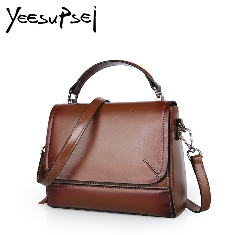 YeeSupSei Vintage Genuine Leather Bag Tassel Handbag Women Famous Brand Handbag Women Handle Crossbody Big Cover Messenger Bag