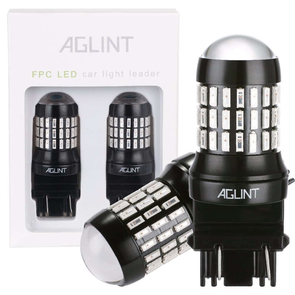 AGLINT 2PCS P27/7W LED Bulbs 3056 3156 3057 3157 LED Use For Brake Light Tail lights Turn Signal 4014SMD-66 Chips With Lens Red 1x high power cree chip 6 smd t25 3157 3156 led bulbs for turn signal brake bulbs brake up lamps white p27 7w light source dc12v