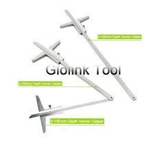 Высокое качество 150 мм 200 мм 300 мм Глубина штангенциркуль 0,02 мм 0-150 мм 0-200 мм 0-300 мм глубина измерительный инструмент