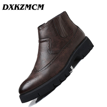 DXKZMCM Men Boots Autumn Winter Ankle Boots Fashion Footwear Slip-On Shoes Men Business Casual High Top Men Shoes