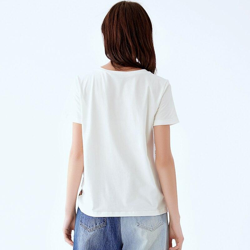 POKWAI/женская летняя Новинка 2019 года; Модная Повседневная футболка с короткими рукавами и круглым вырезом; женская тонкая рубашка - 3
