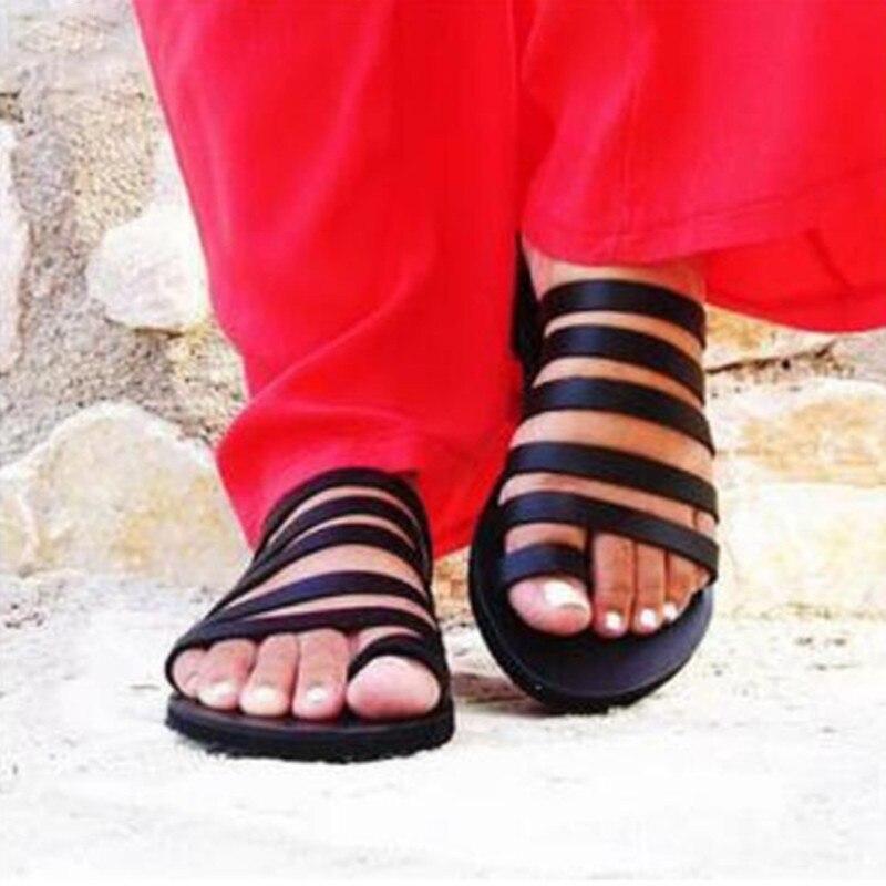 HTB1q0i LrrpK1RjSZTEq6AWAVXar Women Flat Sandals Summer 2019 Gladiator Sandals Ladies Strap Slippers Roman Female Flip Flops Outdoor Casual Sandales Femme