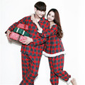 GOPLUS 2016 Autumn Winter Classic red plaid Cotton Couple Pajamas Sets of Lover Vacation Sleepwear Family Casual Home Clothing