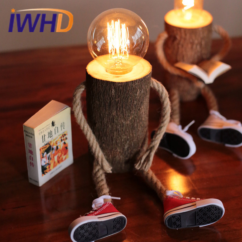 Creative Wooden Hemp Rope Desk Lamp Cute Kids Table Lamp Fixtures For Home Lightings Study Room Cafe Bar Luminaria De Mesa novelty volcanic stone led pendant lamp reisn hemp rope creative droplight hanglamp fixtures for home lightings cafe living room