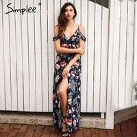 Simplee Cold Shoulder Ruffles Print Chiffon Long Dress Women Strap V Neck Split Backless Maxi Dress