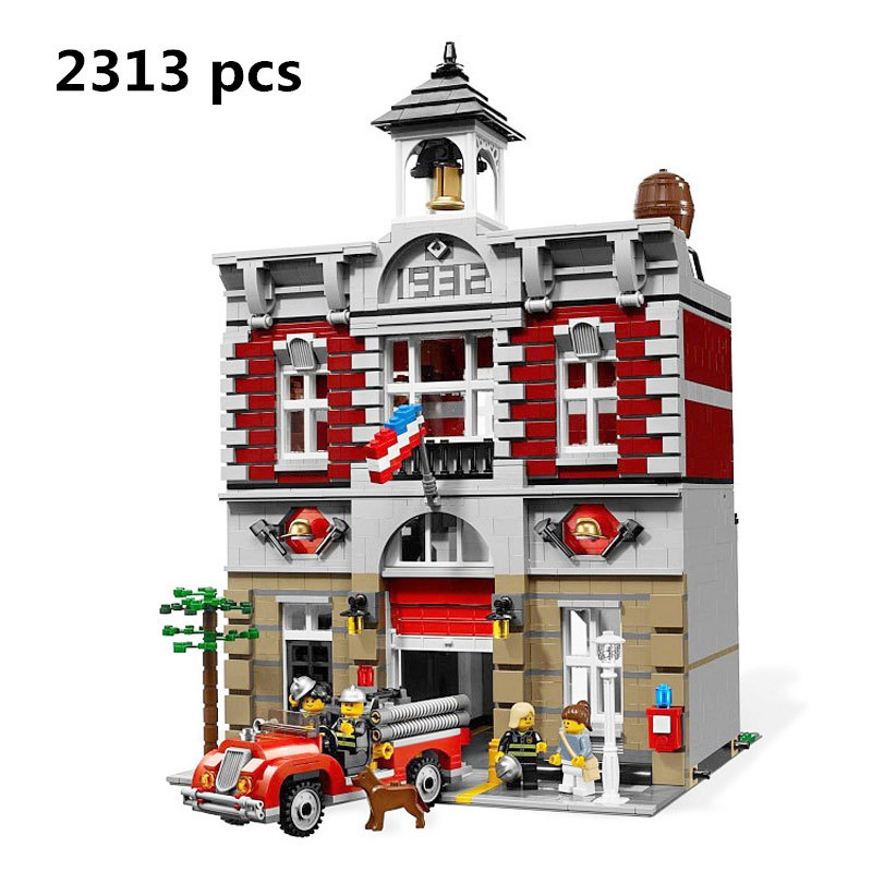 New LEPIN 15004 City Street Fire Brigade Model Building Kits Blocks Bricks Compatible 10197 toys for children castle lepin 15004 2313pcs city creator series fire brigade model building blocks bricks toys for children gift compatible 10197