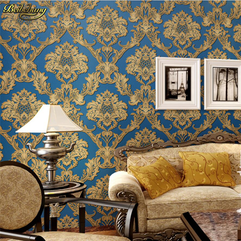 beibehang Thick 3D embossed embossed non - woven wallpaper European - style Damascus living room bedroom papel de parede pastoral large flower wallpapers 3d stereoscopic non woven embossed wallpaper for living room bedroom home decor papel de parede