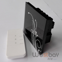 Free Shipping Touching Glass Panel Wall Switch At AC100 260V Black Color 1 Gang 2way Touching