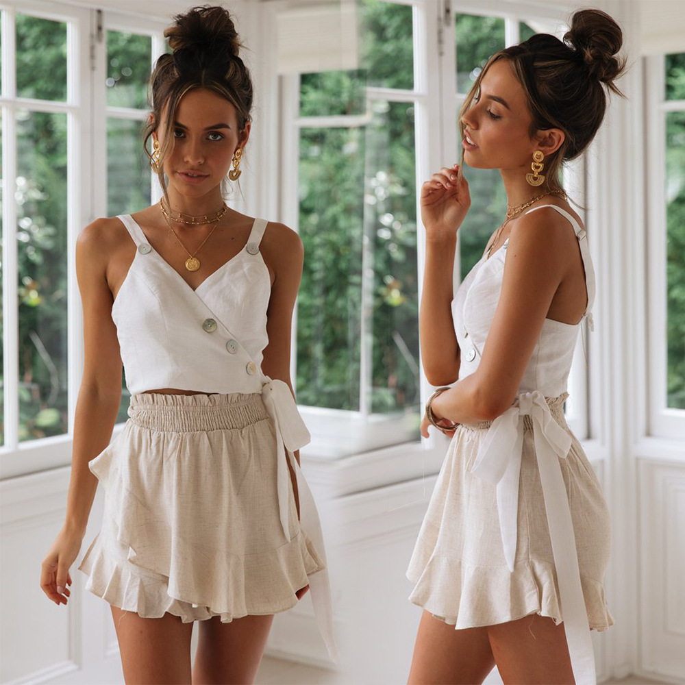 2019 New Strap Button V-neck Tube Top Spring and Summer Vest Women Camisole Womens Shirt