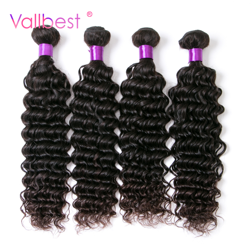 Brazilian Deep Wave Brazilian Hair Weave Bundles Non Remy Hair Weaving Human Hair Bundles 1B Natural Black 100g/Piece Vallbest