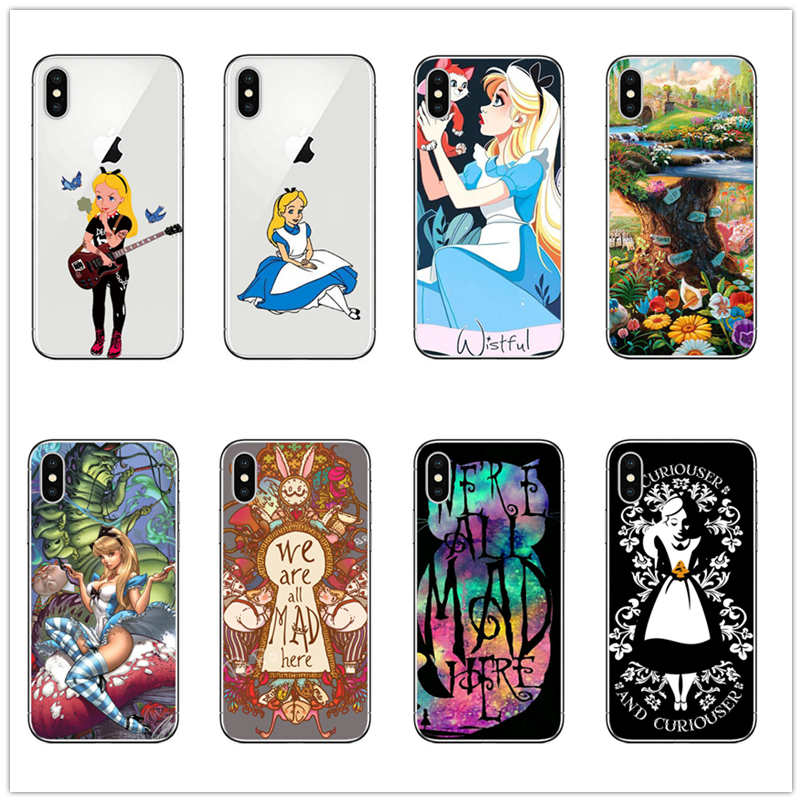 Alice in wonderland Phone Case For iPhone XR 6 7 8 X XS XS MAX 5 5S SE 6S PLUS TPU Silicone Case fashion Girl Cute Cartoon Cover