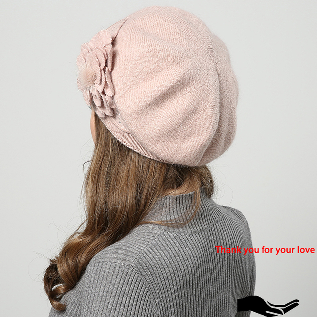 Winter beanies for women flower style 2