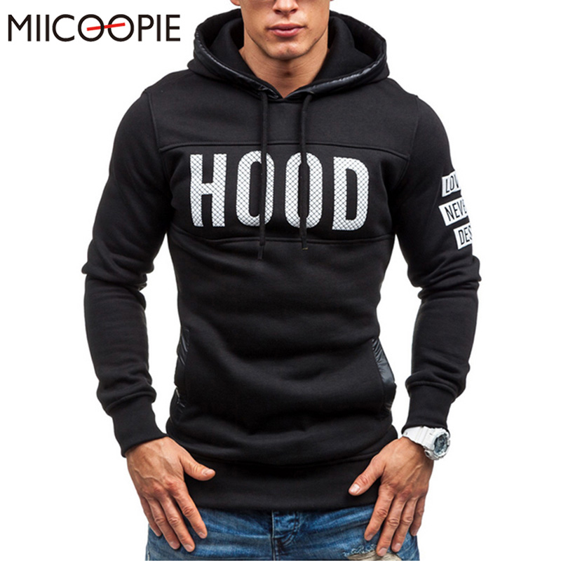 2017 New Arrival Mens Fashion Sportswear Brands Casual Hooded Print Pullover Hoodie men M-3XL Plus Size Free shipping