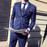 2019 Two Buttons Plaid Stripe Men Skinny Business Casual Suits Men Custom Made Smoking Costume Homme Wedding Tuxedo Suits